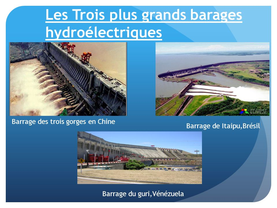 Les Trois plus grands barages hydroélectriques