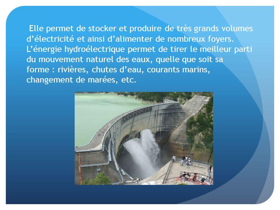 Elle permet de stocker et produire de très grands volumes d'électricité et ainsi d'alimenter de nombreux foyers.