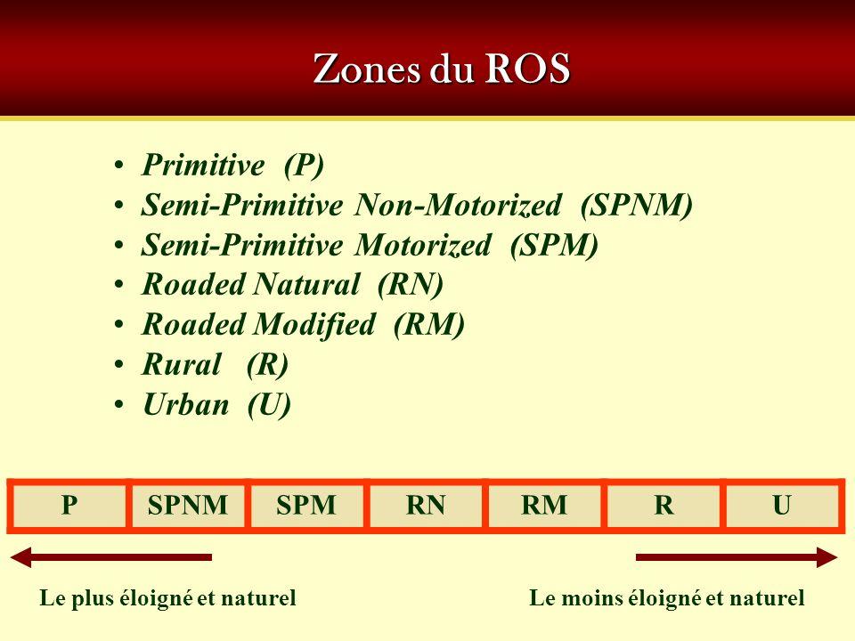 Zones du ROS Primitive (P) Semi-Primitive Non-Motorized (SPNM)