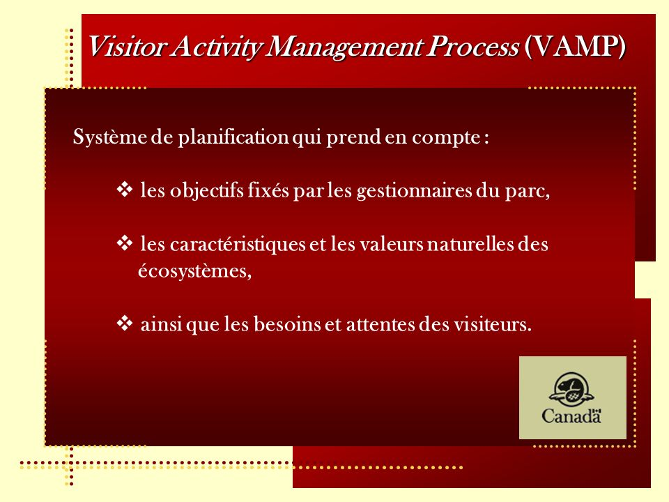 Visitor Activity Management Process (VAMP)