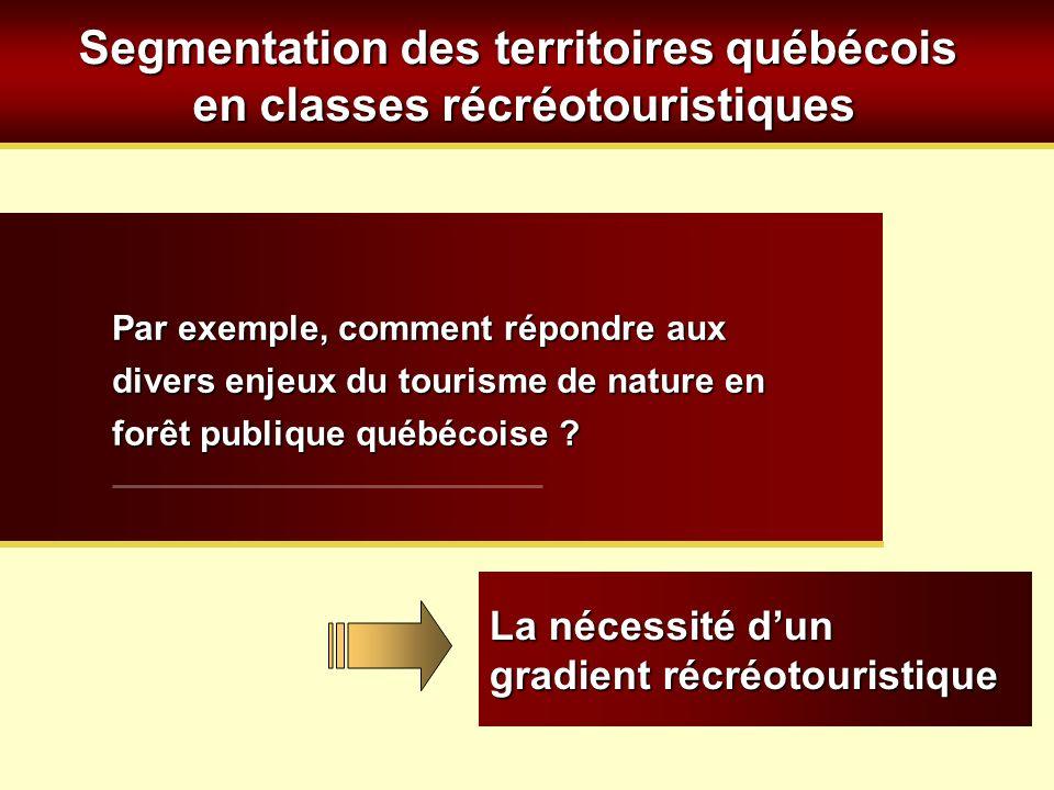 Segmentation des territoires québécois en classes récréotouristiques