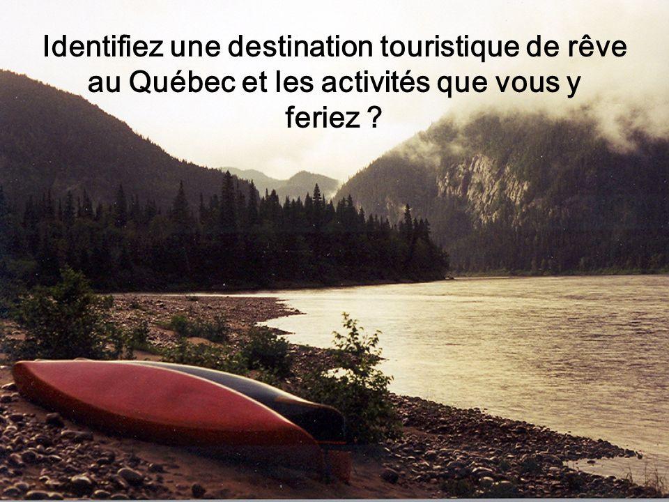 Identifiez une destination touristique de rêve au Québec et les activités que vous y feriez