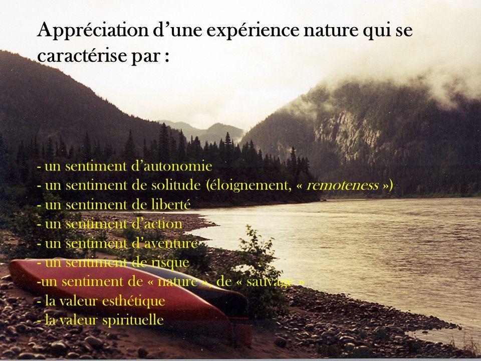 Appréciation d'une expérience nature qui se caractérise par :