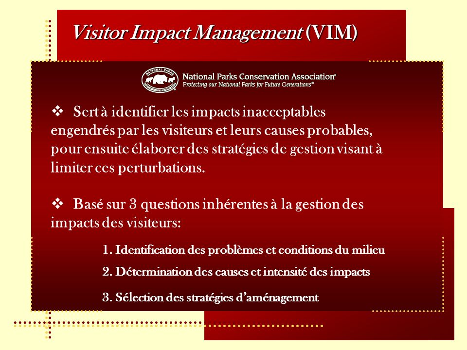 Visitor Impact Management (VIM)