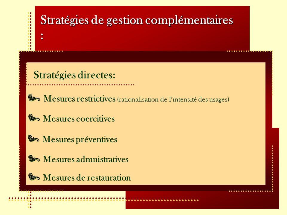 Stratégies de gestion complémentaires :