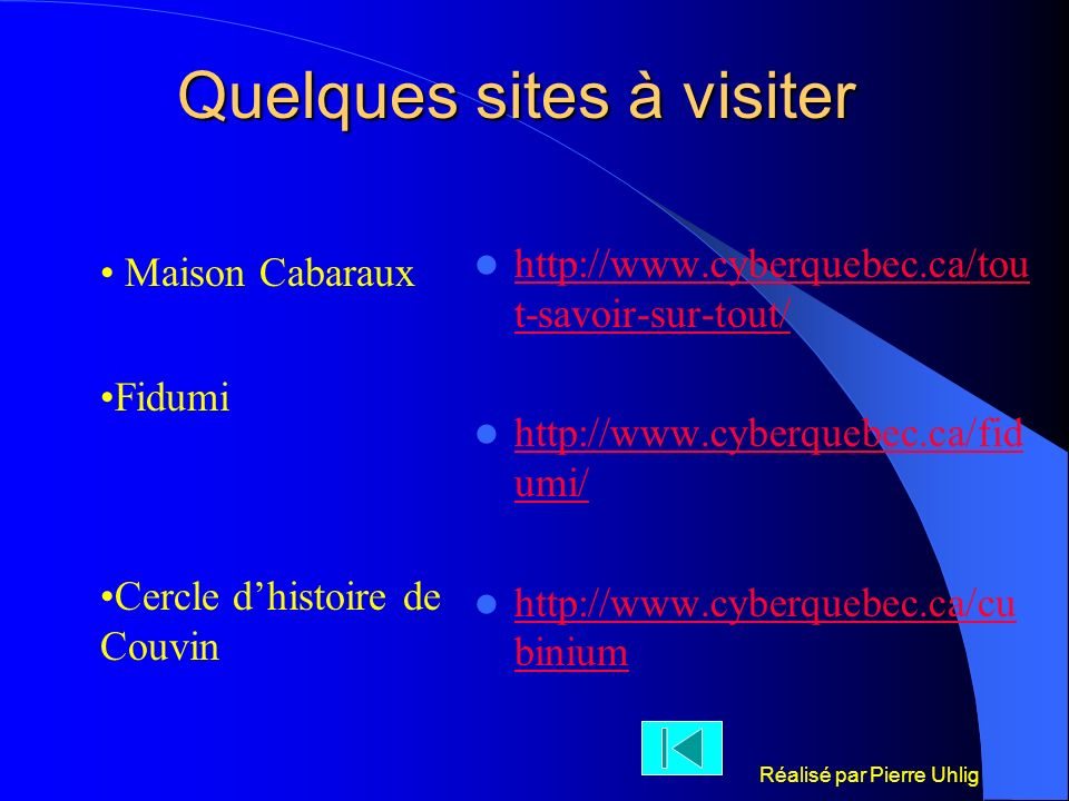 Quelques sites à visiter
