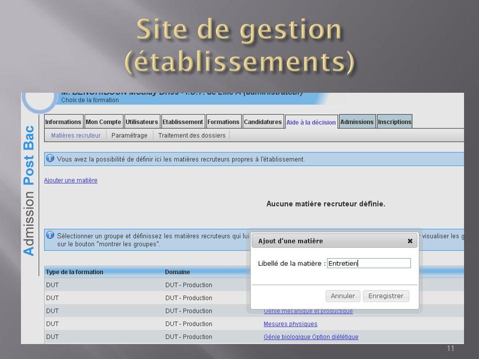 Site de gestion (établissements)