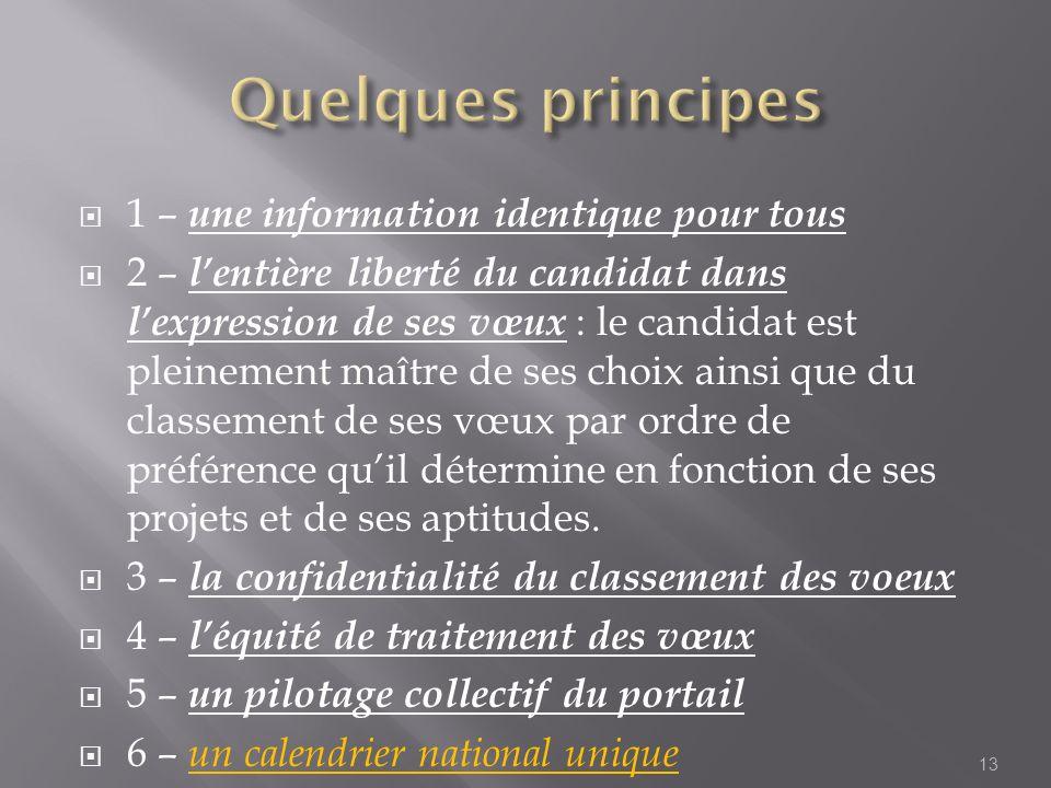 Quelques principes 1 – une information identique pour tous