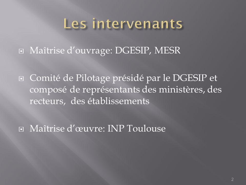 Les intervenants Maîtrise d'ouvrage: DGESIP, MESR