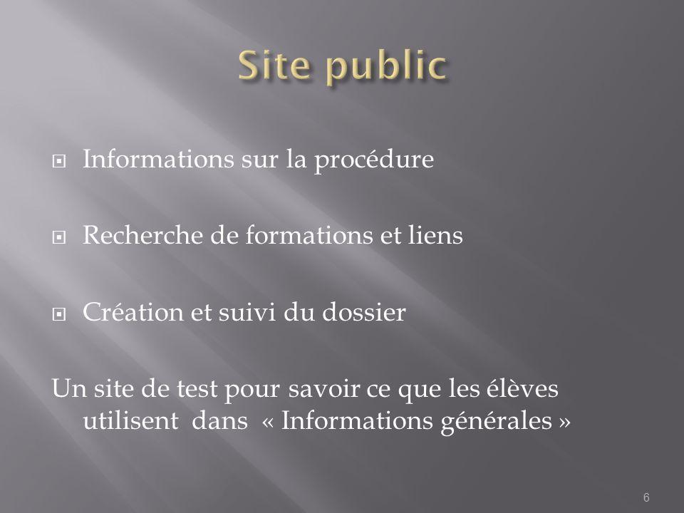 Site public Informations sur la procédure