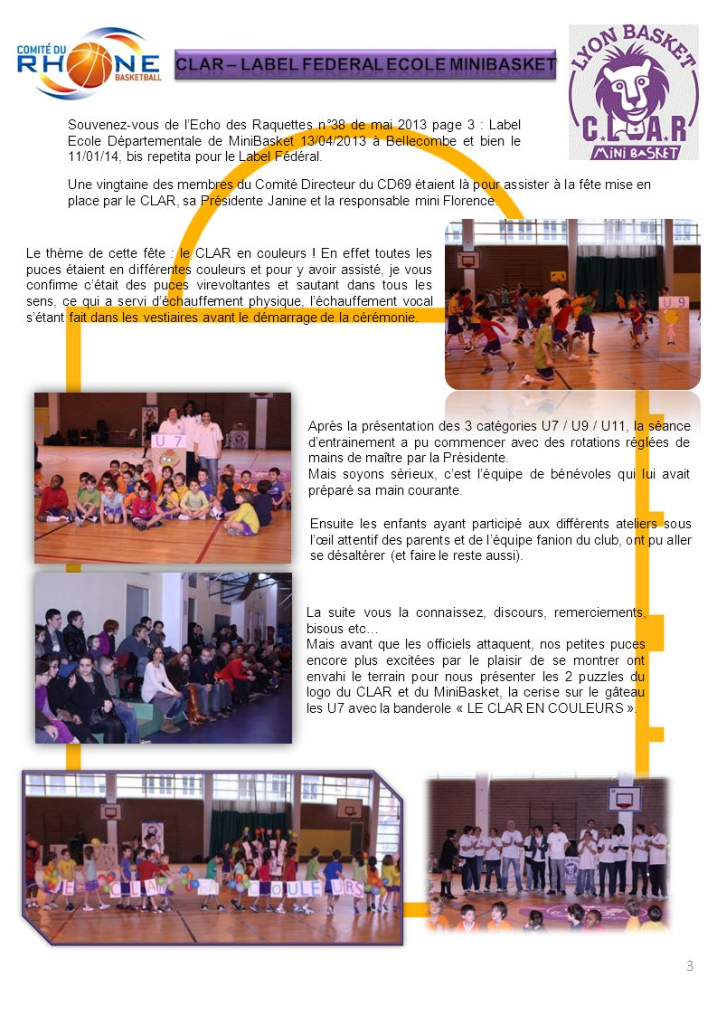 CLAR – LABEL FEDERAL ECOLE MINIBASKET