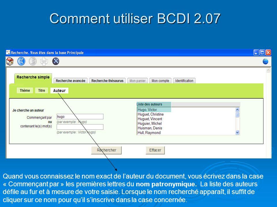 Comment utiliser BCDI 2.07