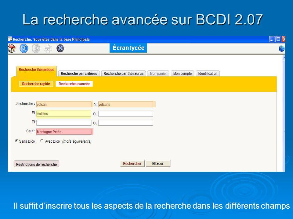 La recherche avancée sur BCDI 2.07