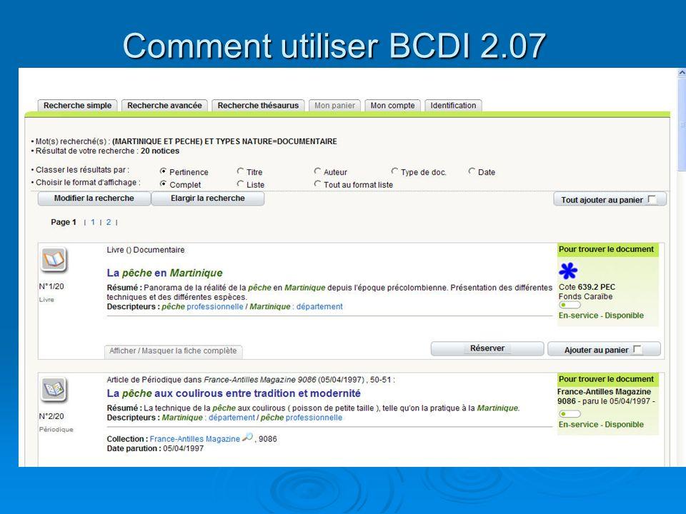 Comment utiliser BCDI 2.07 La recherche simple