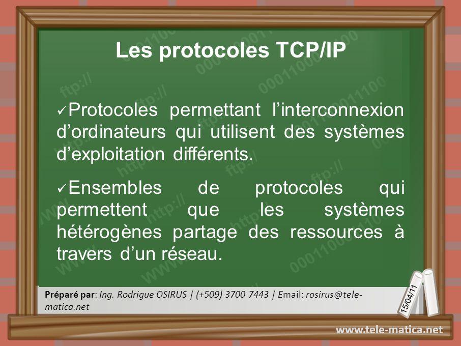 Les protocoles TCP/IP Protocoles permettant l'interconnexion d'ordinateurs qui utilisent des systèmes d'exploitation différents.