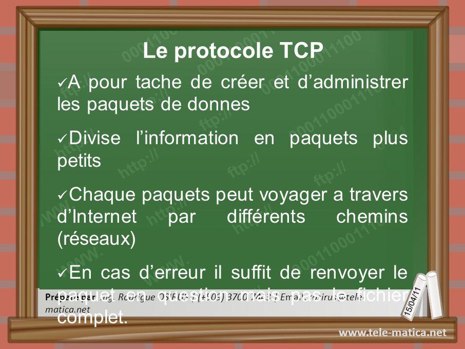 Le protocole TCP A pour tache de créer et d'administrer les paquets de donnes. Divise l'information en paquets plus petits.