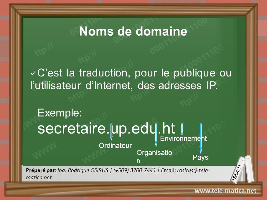Noms de domaine C'est la traduction, pour le publique ou l'utilisateur d'Internet, des adresses IP.