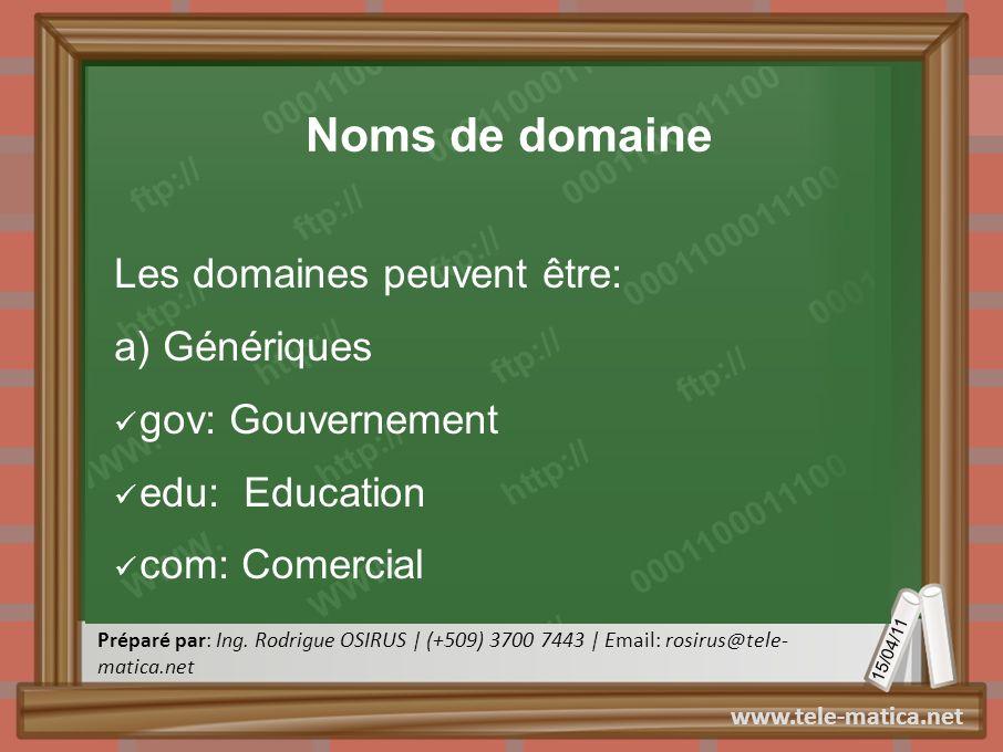 Noms de domaine Les domaines peuvent être: a) Génériques