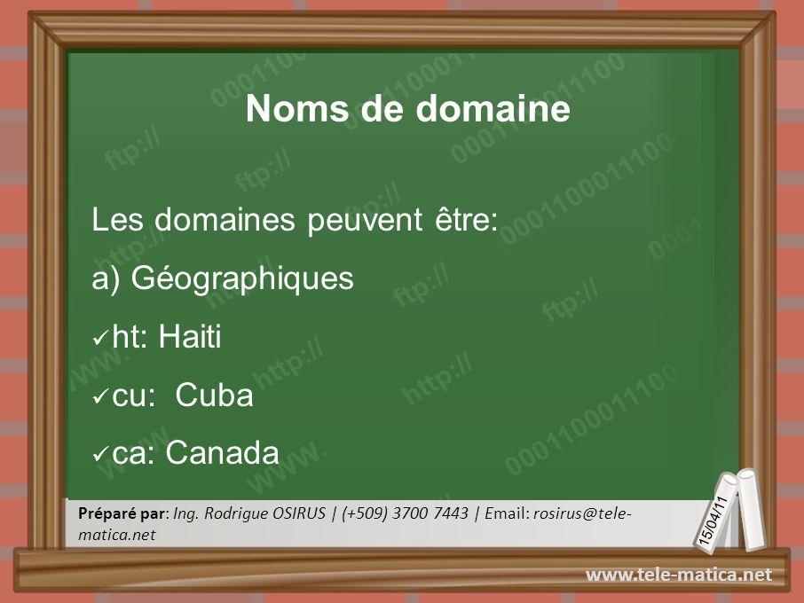 Noms de domaine Les domaines peuvent être: a) Géographiques ht: Haiti