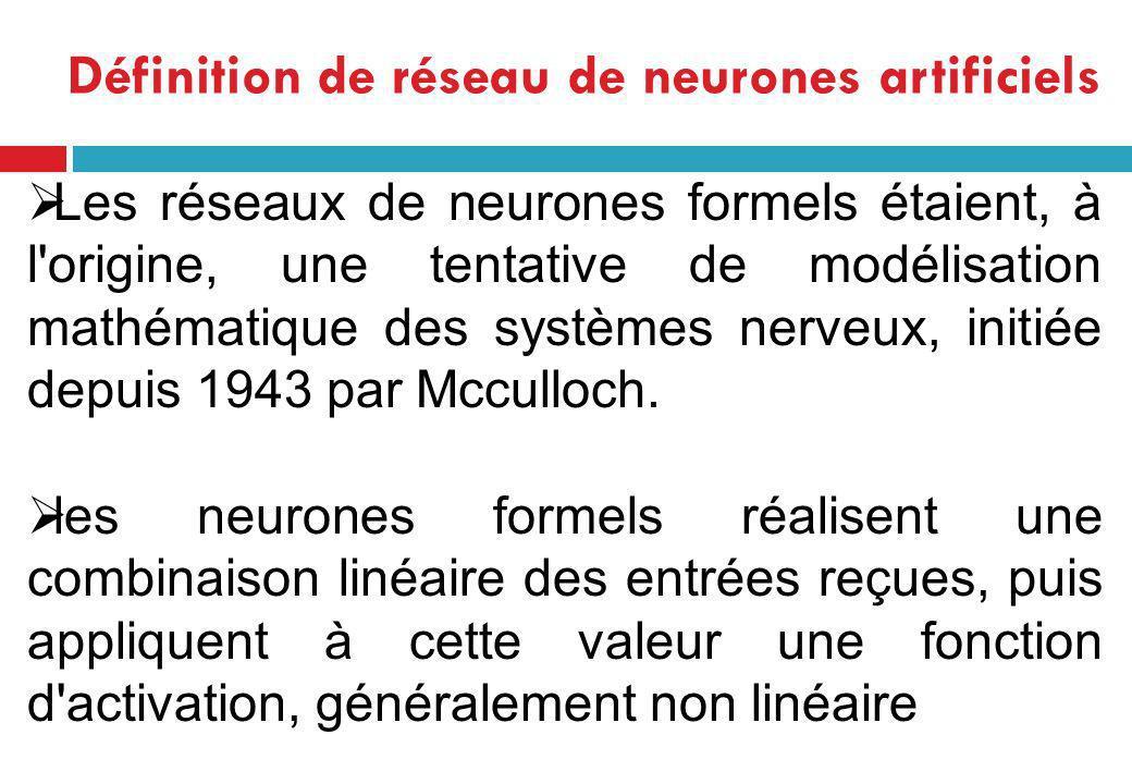 Définition de réseau de neurones artificiels