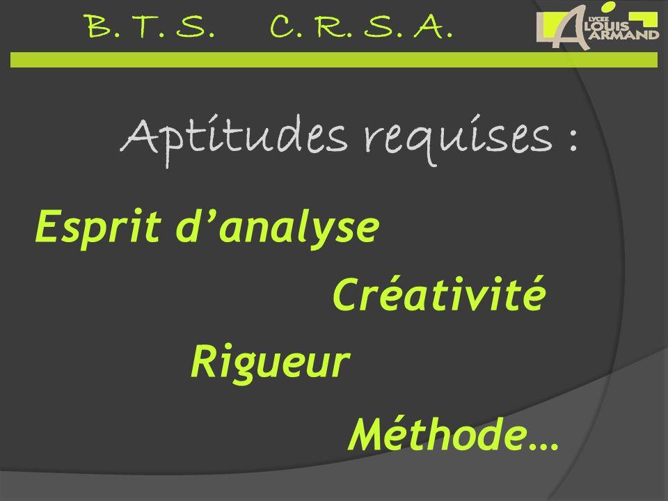 Aptitudes requises : Esprit d'analyse Créativité Rigueur Méthode…