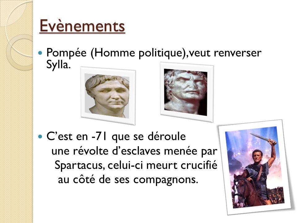 Evènements Pompée (Homme politique),veut renverser Sylla.