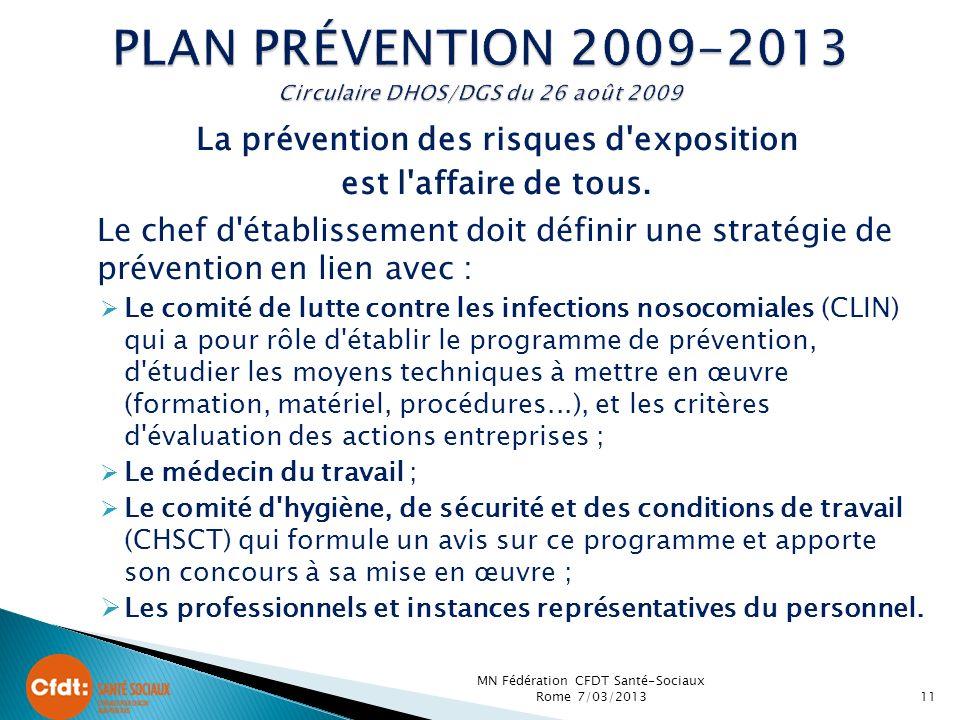 PLAN Prévention 2009-2013 Circulaire DHOS/DGS du 26 août 2009