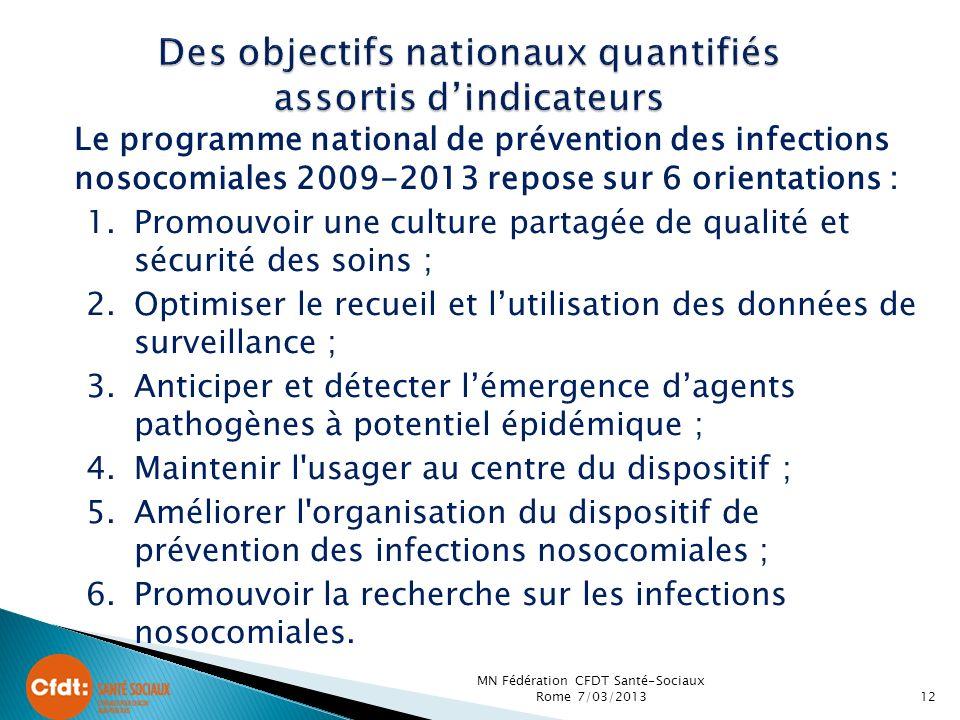 Des objectifs nationaux quantifiés assortis d'indicateurs