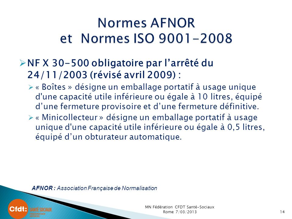 Normes AFNOR et Normes ISO 9001-2008