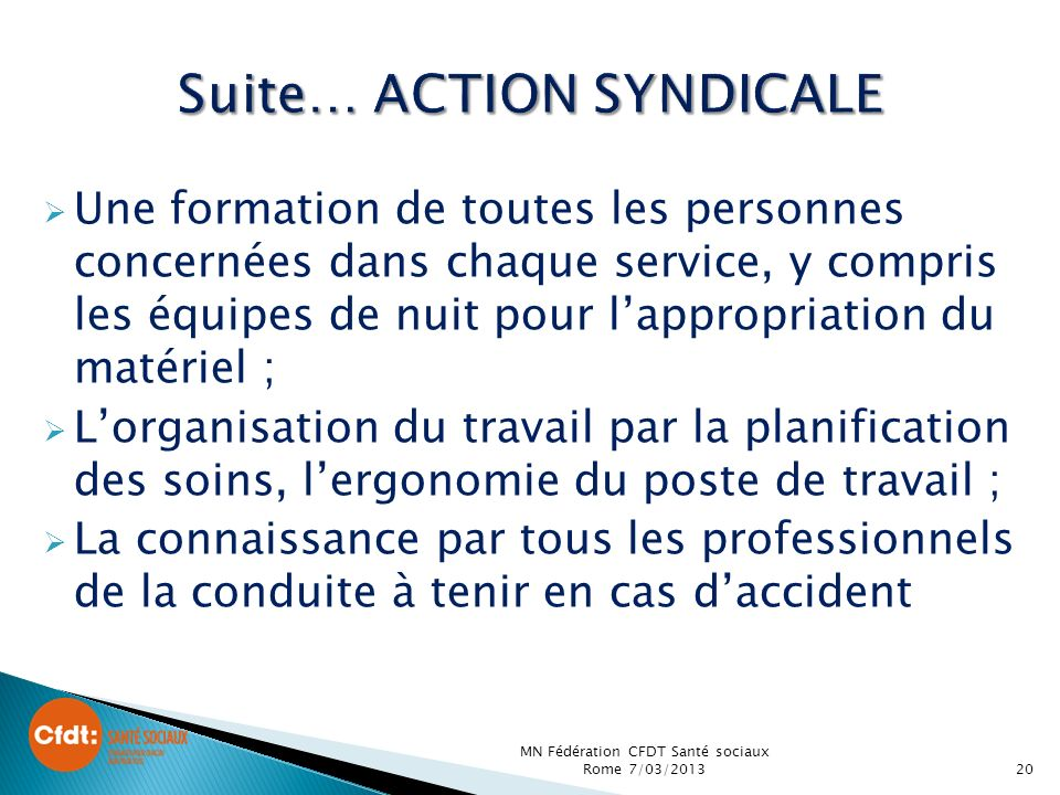 Suite… ACTION SYNDICALE