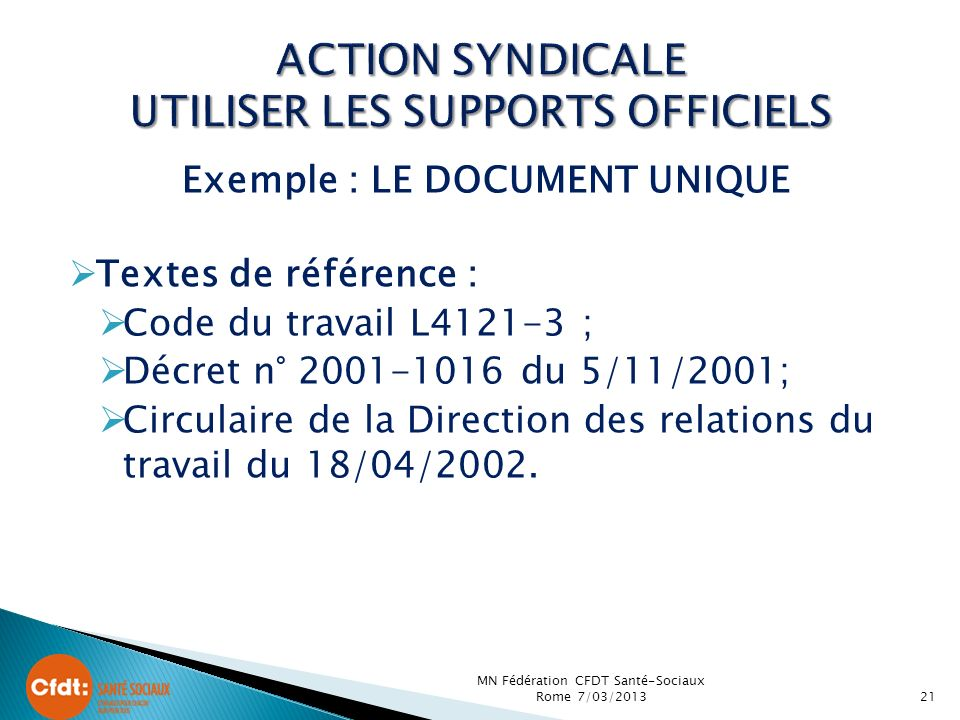 ACTION SYNDICALE UTILISER LES SUPPORTS OFFICIELS