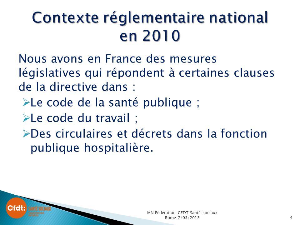 Contexte réglementaire national en 2010