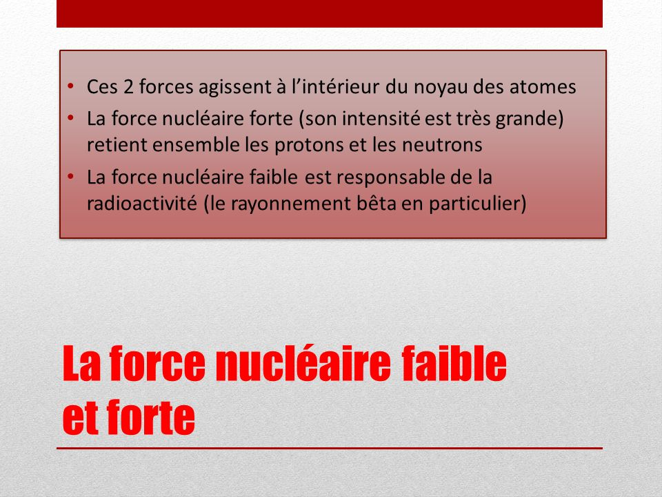 La force nucléaire faible et forte