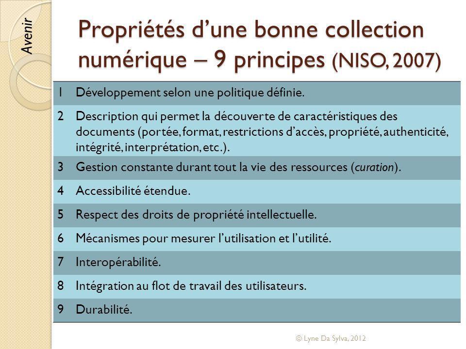 Propriétés d'une bonne collection numérique – 9 principes (NISO, 2007)