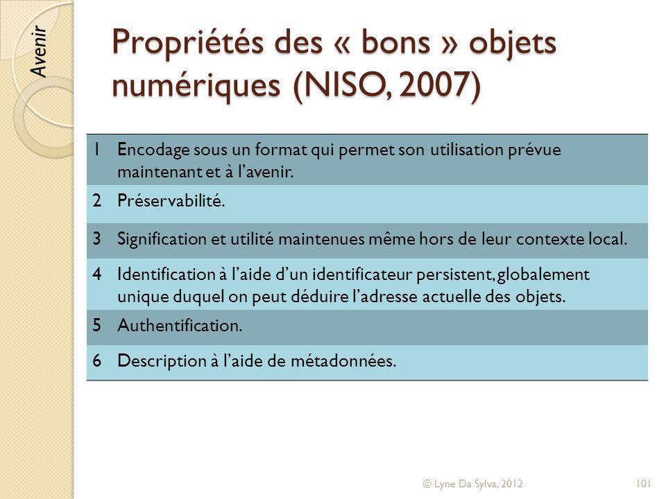 Propriétés des « bons » objets numériques (NISO, 2007)
