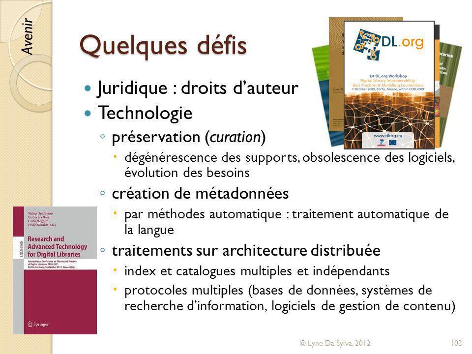 Quelques défis Juridique : droits d'auteur Technologie