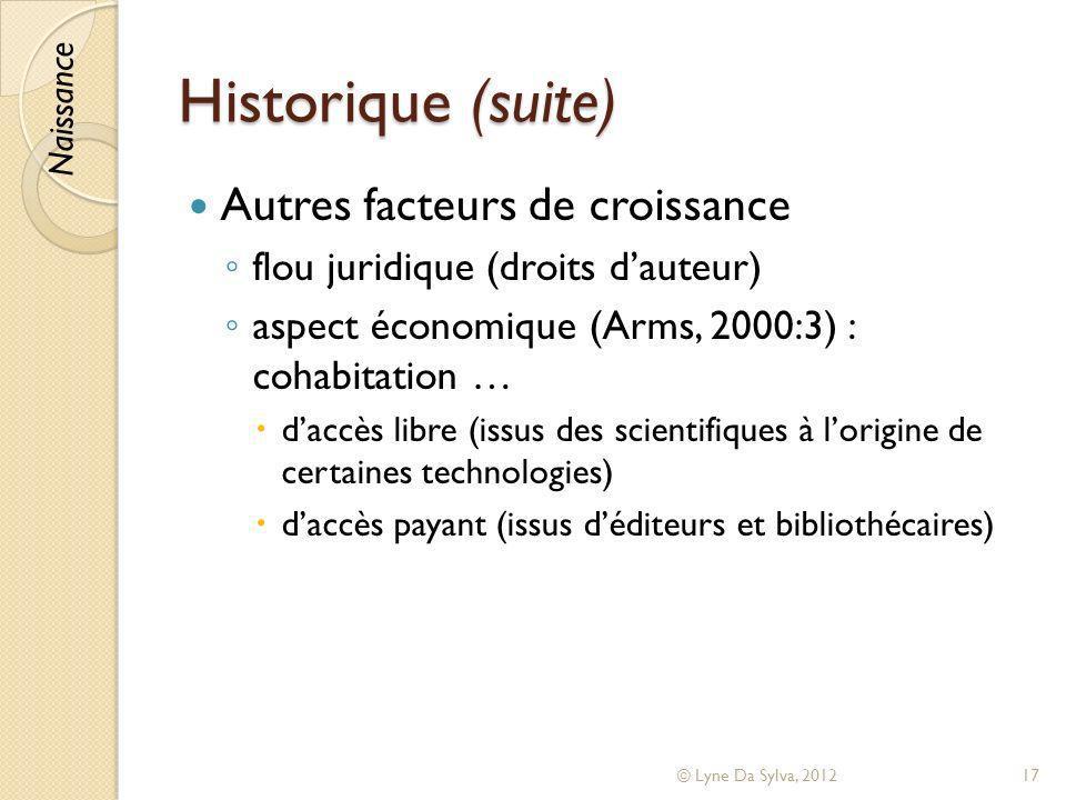 Historique (suite) Autres facteurs de croissance