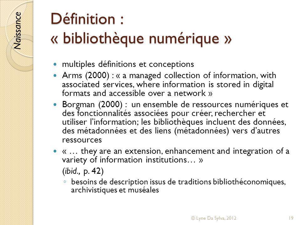 Définition : « bibliothèque numérique »