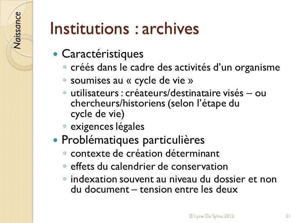 Institutions : archives