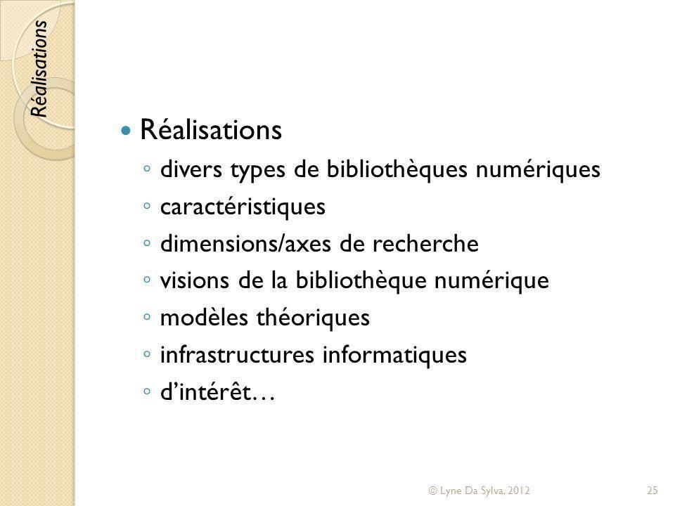 Réalisations divers types de bibliothèques numériques caractéristiques