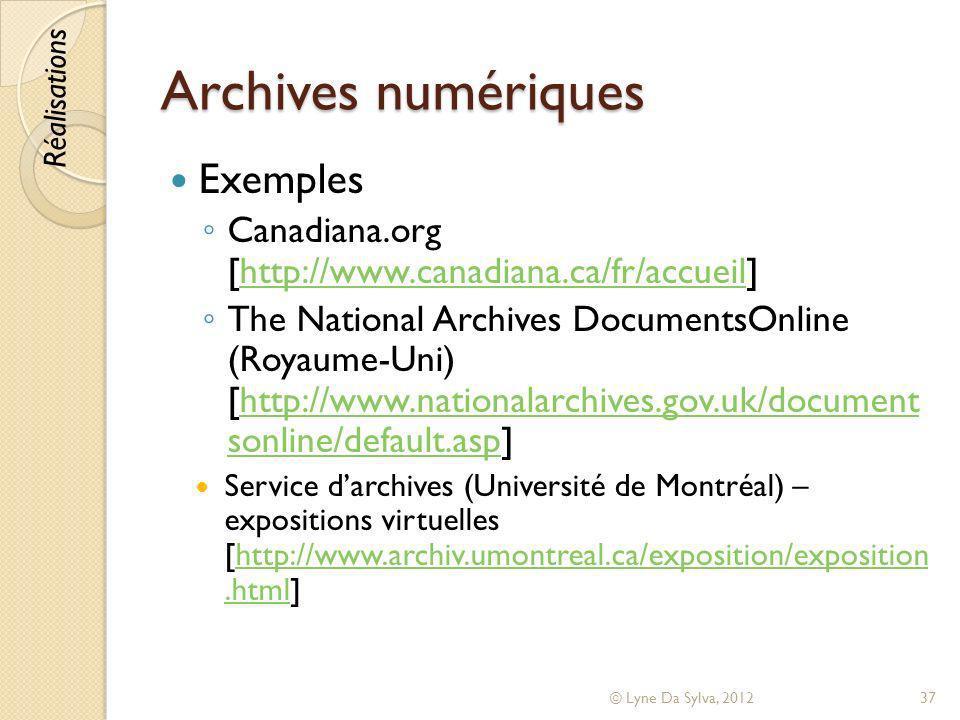 Archives numériques Exemples