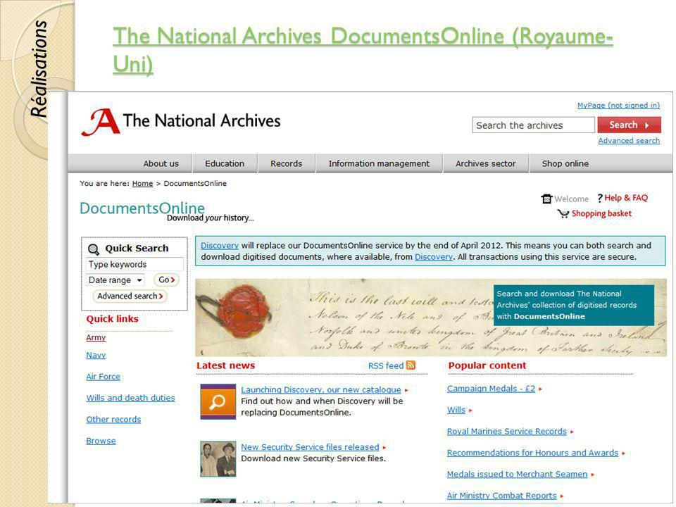 The National Archives DocumentsOnline (Royaume-Uni)