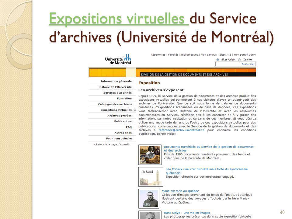 Expositions virtuelles du Service d'archives (Université de Montréal)
