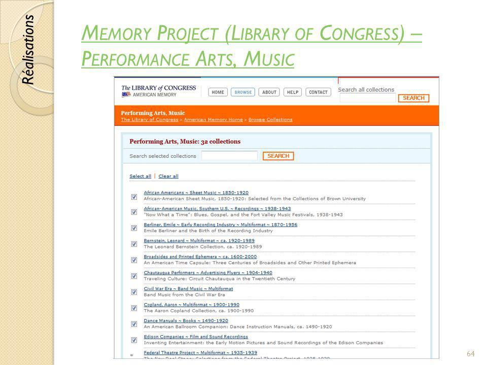 Memory Project (Library of Congress) – Performance Arts, Music