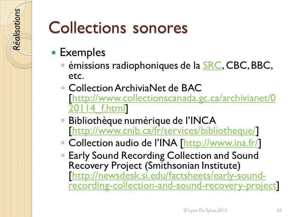 Collections sonores Exemples