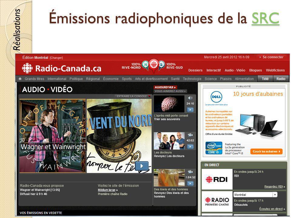 Émissions radiophoniques de la SRC