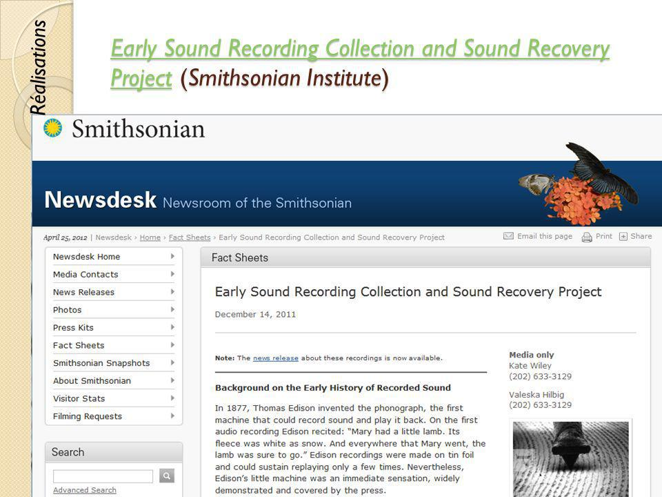 Early Sound Recording Collection and Sound Recovery Project (Smithsonian Institute)