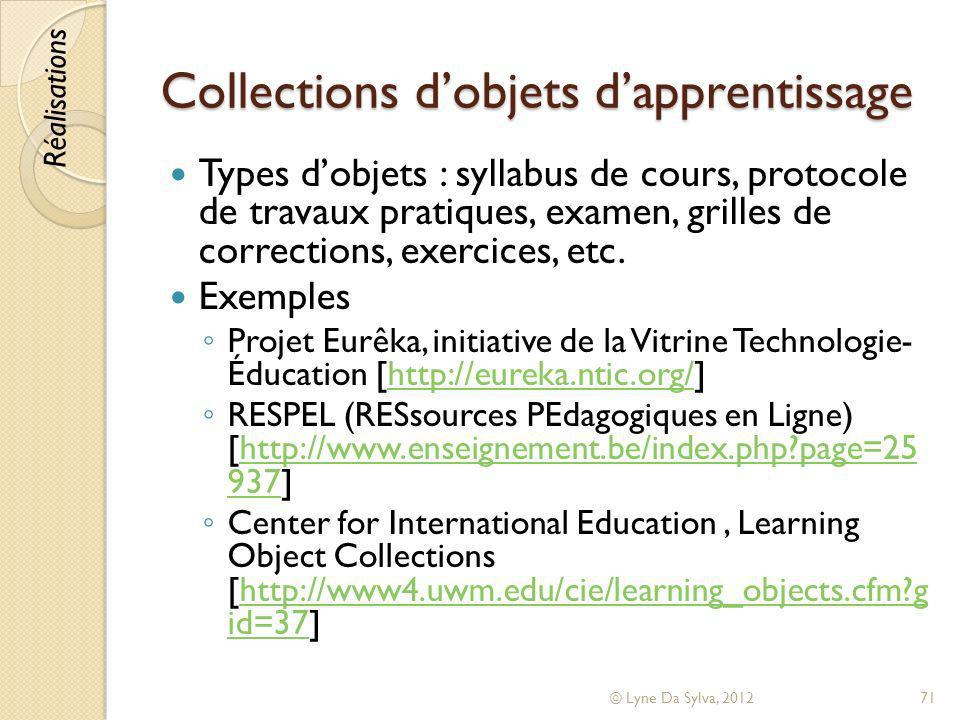 Collections d'objets d'apprentissage