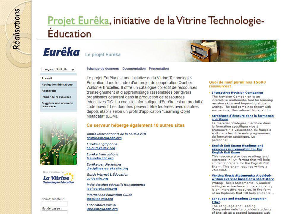 Projet Eurêka, initiative de la Vitrine Technologie-Éducation