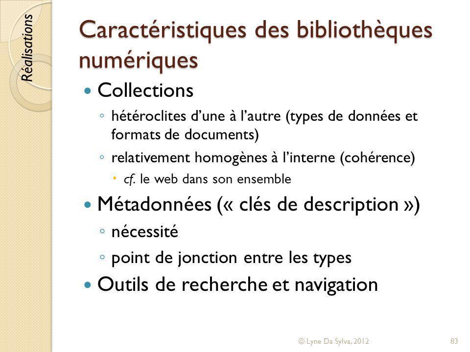 Caractéristiques des bibliothèques numériques